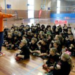 Basketball training by Brett Rainbow at Girl playing basketball at School holiday basketball program July 2019