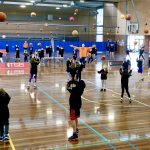 Brett Rainbow giving basketball training to kids at School holiday basketball camp July 2019
