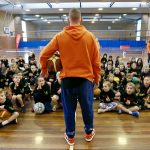Basketball coaching by Brett Rainbow at School holiday basketball camp July 2019