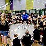 Basketball training by Brett Rainbow at School holiday basketball camp July 2019